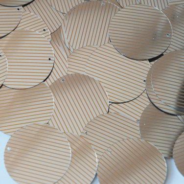 Sequin Round 30mm Orange Silver Pinstripe Metallic Couture Paillettes