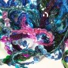 "8mm Cup Sequin Trim Sampler Pack. 10 (12"") pieces. Colors: Blue Green Purple"