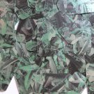 "Sequin Rectangle 1.5"" Green Silver Bird Feathers Print Metallic"