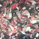 Sequin Round 30mm Red Silver Bird Feathers Print Metallic