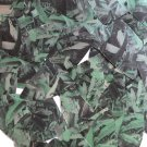 "Sequin Fishscale Fin 1.5"" Green Silver Bird Feathers Print Metallic"