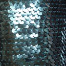 "Ice Blue Metallic Sequin Trim 6mm 1/4"" wide stitched, strung by the yard 15'"