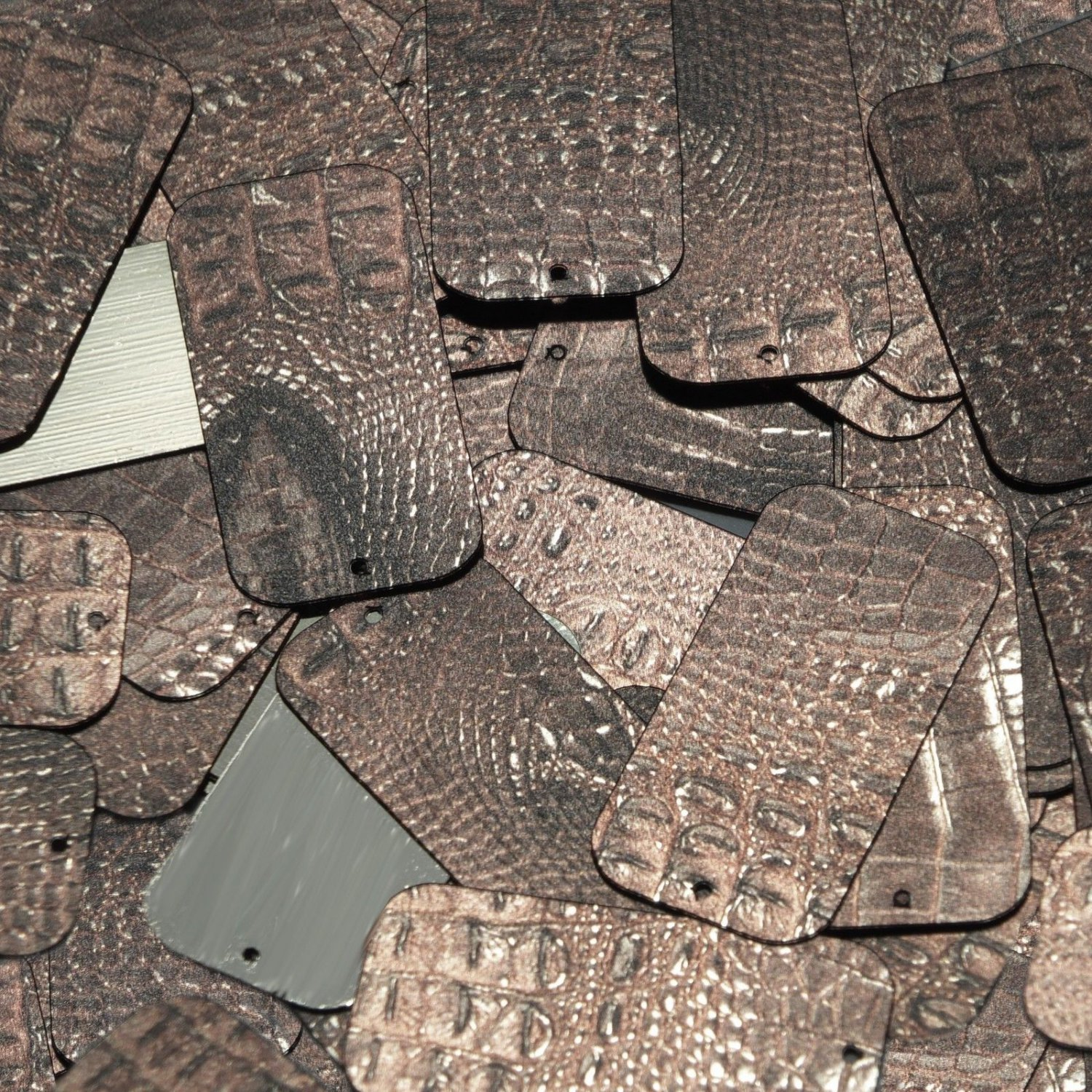 "Rectangle Sequin 1.5"" Deep Brown Distressed Crocodile Print Metallic"