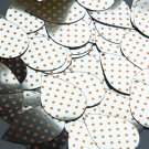 "Teardrop Sequin 1.5"" Orange Polka Dot on Silver Metallic"