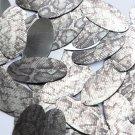 "Oval Sequin 1.5"" Gray Black Snakeskin Reptile Pattern Metallic"