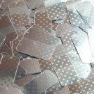 "Rectangle Sequin 1.5"" Orange Polka Dot on Silver Metallic"