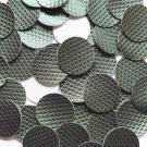 24mm Vinyl Disc Green  Metallic Embossed No Hole Round Circle