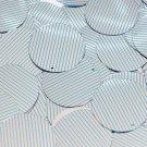 Sequin Round 30mm Aqua Silver Pinstripe Pattern Metallic Couture Paillettes