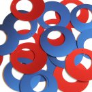 """Circle Loop Sequin 1.5"""" Red Blue Matte Silk Frost"""