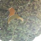 "Round Sequin 1.5"" Green Pine Leaf Bough Gold Metallic"