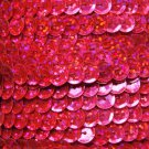 Sequin Trim Hot Pink Hologram 8mm Cup Facet strung by the yard. Made in USA.