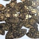 "Sequin Navette Leaf 1.5"" Gold Black Scribble Metallic Couture Paillettes"