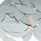 "Sequin Navette Leaf 1.5"" Aqua Silver Pinstripe Pattern Metallic Couture Paillett"