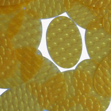 3D Yellow Oval Sequin 2 inch Dimensional Reflector Sequin Paillette Made in USA.