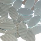 """Sequin Navette Leaf 1.5"""" Green Silver Pinstripe Metallic Couture Paillettes"""
