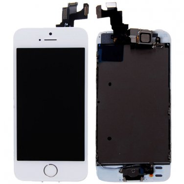 White IPhone 5S LCD Screen Display Complete Full Assembly With Small Parts