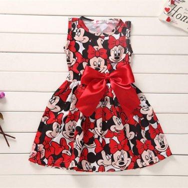 Girls Dress Tutu Princess Baby Mickey Minnie Mouse Dress Dot Baby Casual Paty Dress for 2-6 Years