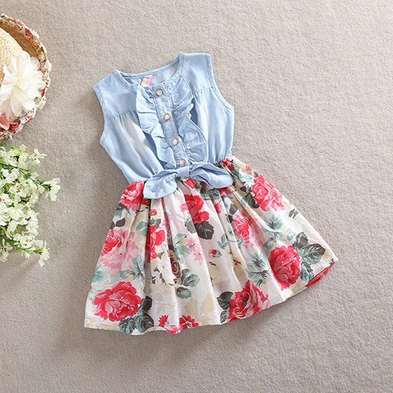 Lovely HotKid Girls Jean Denim Bow Flower Ruffled Dress Sundress Clothing Costume Free Shipping