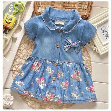 summer leisure style children girls flower jean dress baby girls cute fashion dress outfits