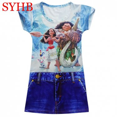 Print Jeans Imitation Girl Tank Party Dress White Red Blue Color Children Clothing