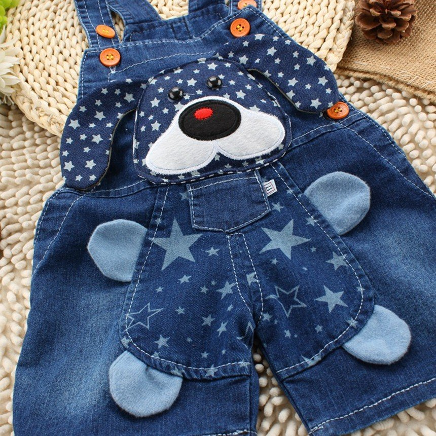 Baby Boys Girls Jeans Overalls Shorts Toddler Kids Denim Rompers Cute