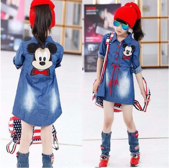 Children Summer Cartoon Jeans Dresses Girls Casual Denim One Piece Dress Child Long Sleeve Dresses