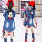 Children Summer Cartoon Jeans Dresses Girls Casual Denim One Piece Dress Child Long Sleeve Dresses