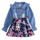 Jeans Flower Patchwork Dark Blue dress autumn clothes kids