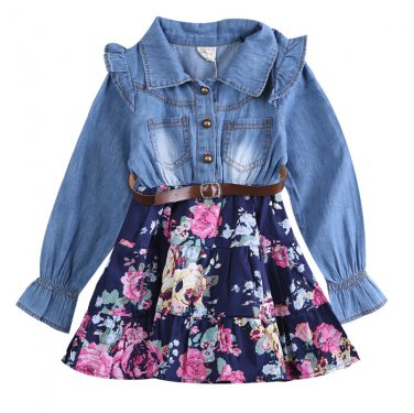 Jeans Flower Patchwork Dark Blue dress autumn clothes kids