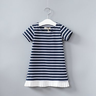 New fashion hot girl dress kids clothing striped dress for girl