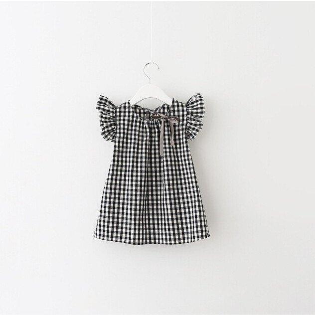 Style New Fashion Black White Plaid Girl Dresses Puff Sleeve Baby Kids