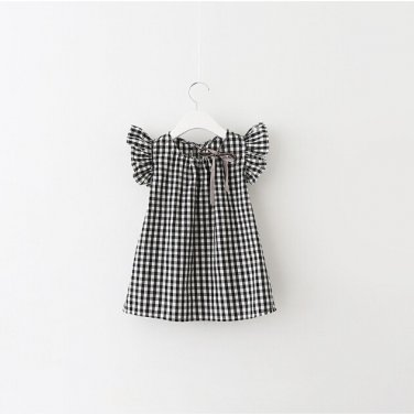 Style New Fashion Black White Plaid Girl Dresses Puff Sleeve Baby Kids