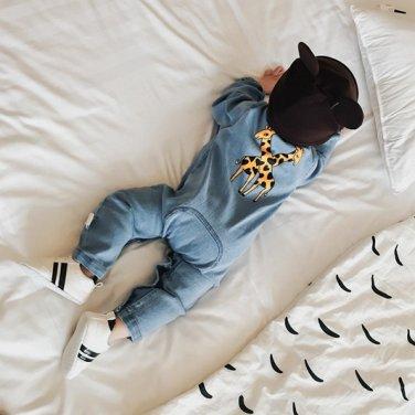 2017 Soft Denim Baby Romper Graffiti Cat Infant Clothes