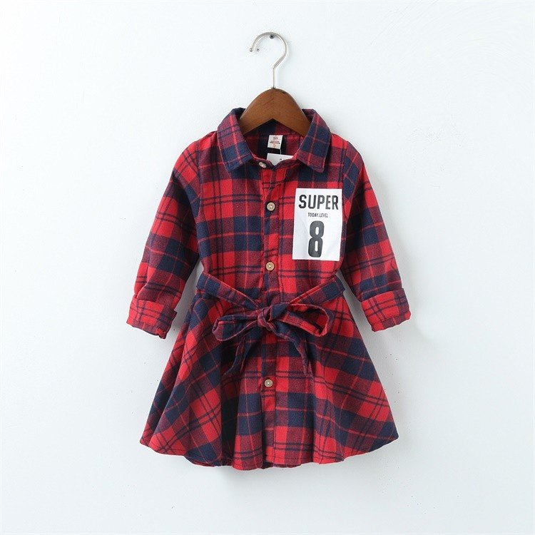 2017 new super 8 print children clothing child clothes cotton long sleeve baby girl dress