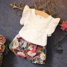T-Shirt Top and Floral Shorts 2PCS Little Girls Outfit Set