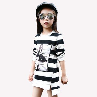 2017 Spring Summer Girls Children Stripe Printed Asymmetrcal Clothes Infant Kid Costume Princess