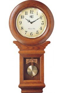 Chiming American Regulator Wall Clock with Swinging Pendulum and Oak Finish - Model # 3416O