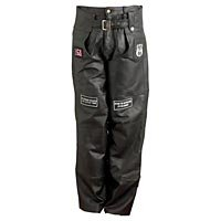 Hand-Sewn Pebble Grain Genuine Leather Motorcycle Chaps