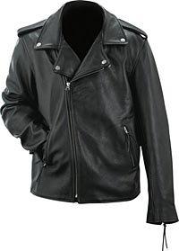 Evel Knievel Mens Black Genuine Leather Classic Motorcycle Jacket