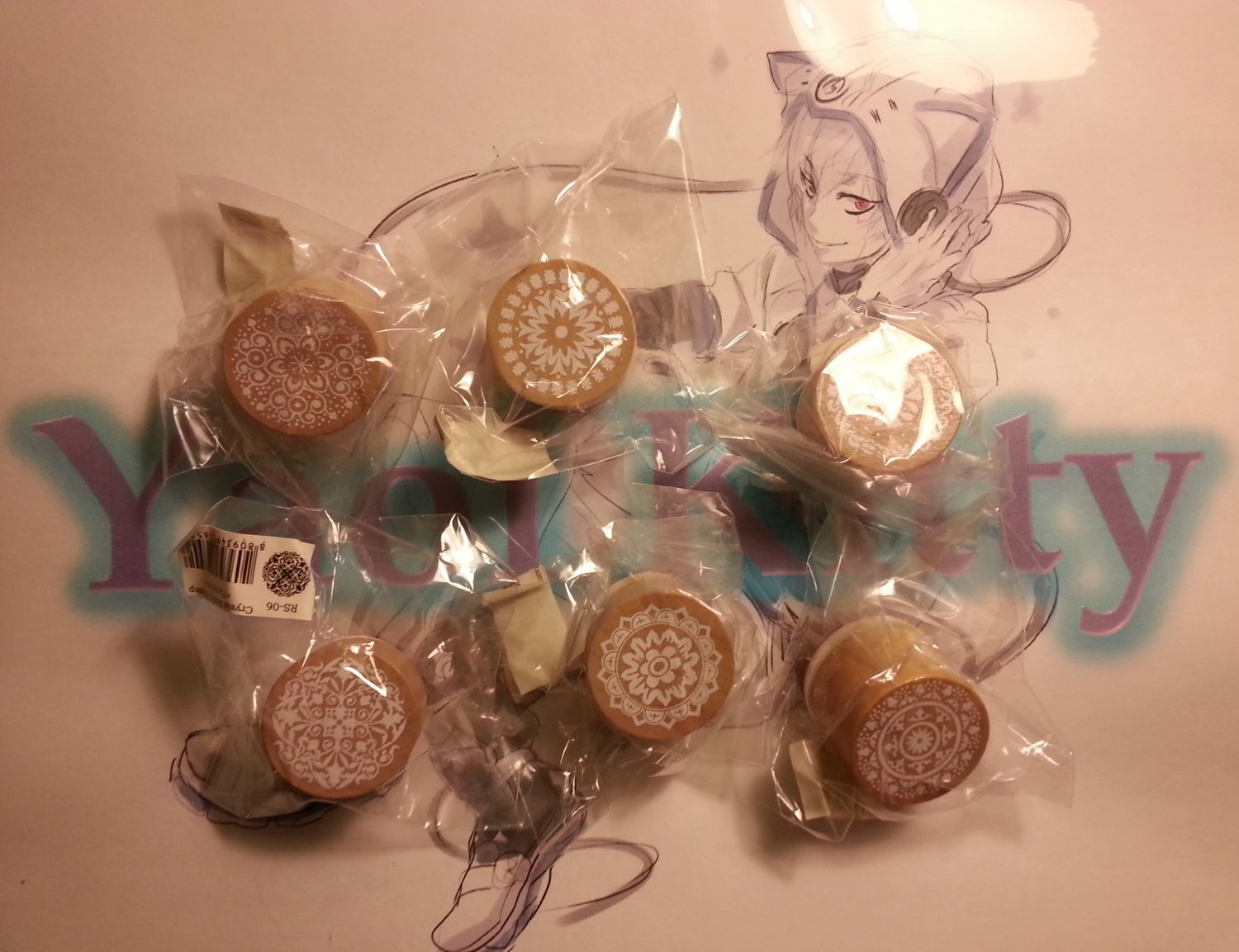 Rubber Stamps - Floral Patterns & Wishes Sentiments Words