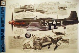 WW2 aviation art print of a P-51 D mustang