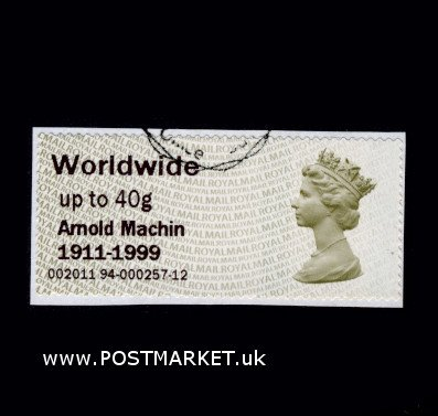 VFU Post and Go Stamp - Arnold Machin Centenary Overprint STAMPEX 2011