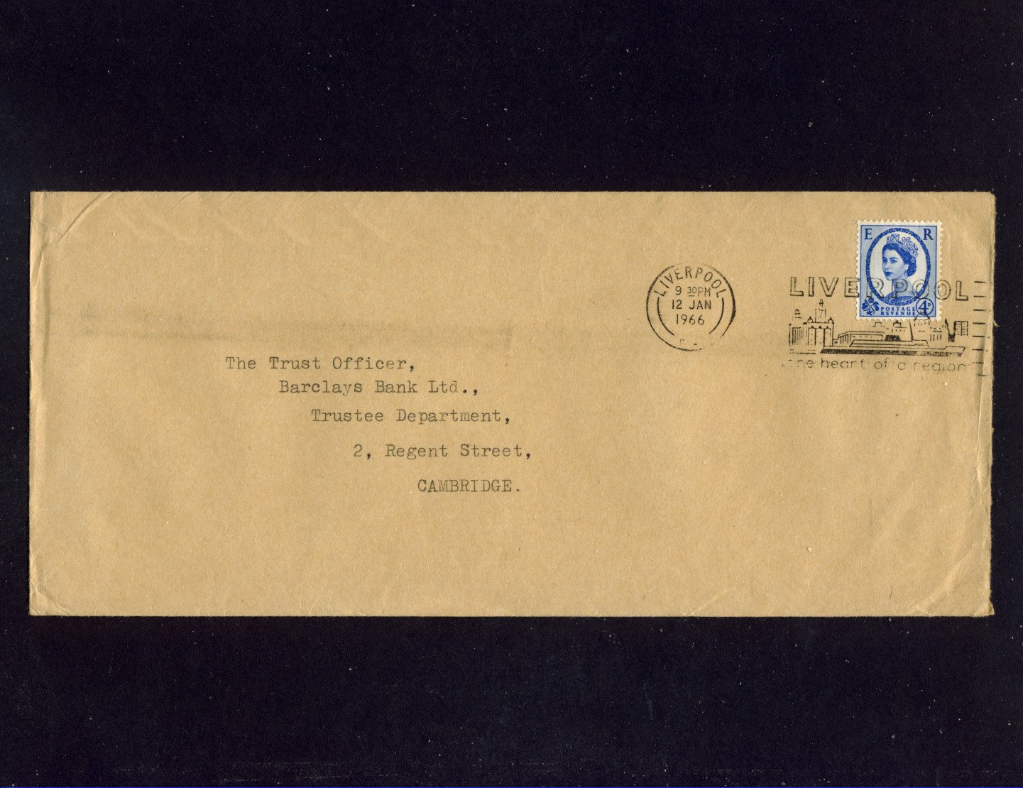 Slogan Postmark - LIVERPOOL The Heart of a Region 1966 on commercially used envelope