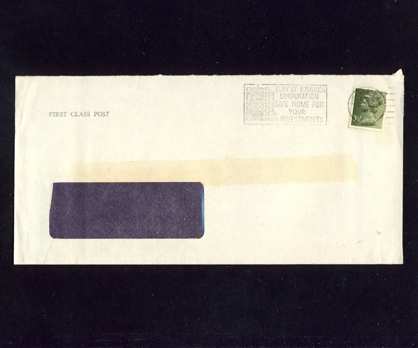 Slogan Postmark - BURY ST EDMUNDS CORPORATION Safe Home For Your Investments 1974 on used envelope