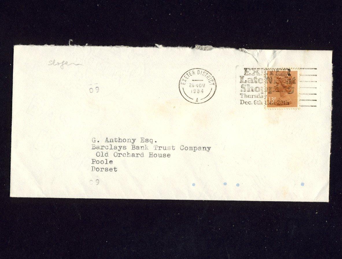 Slogan Postmark - EXETER LATE NIGHT SHOPPING 1984 on commercially used envelope
