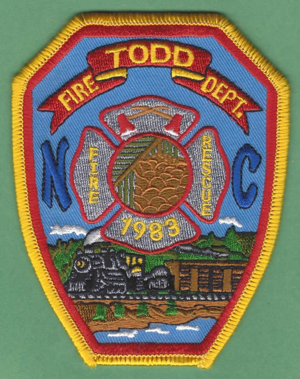 TODD NORTH CAROLINA FIRE RESCUE PATCH LOCOMOTIVE