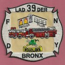 FDNY Bronx New York Ladder Company 39 Fire Patch