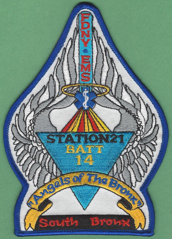 Bronx New York EMS Battalion 14 - Station 21 Fire Patch