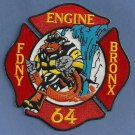 Bronx New York Engine Company 64 Fire Patch