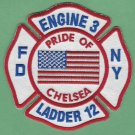 FDNY Manhattan New York Engine 3 Ladder 12 Fire Company Patch